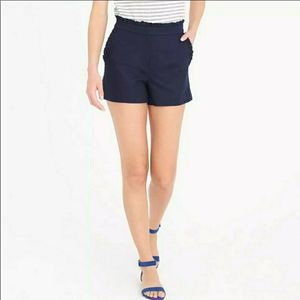 J Crew 8 Linen High Waist Ruffle Shorts Navy Blue